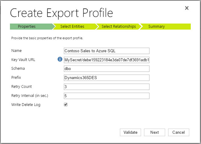 Properties tab in Create Export Profile dialog box