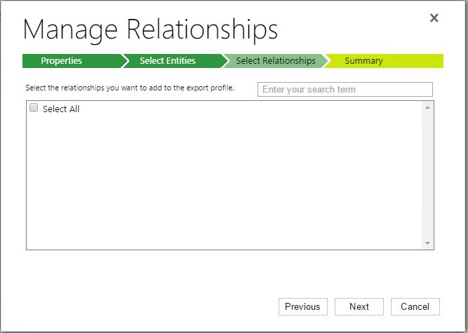 Create Export Profile - Manage Relationships - Select Relationships