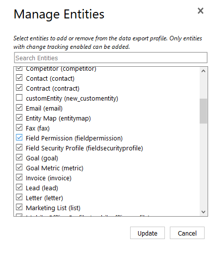 Select the entities or entity relationships to add or remove