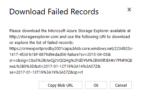 Download failed records dialog box