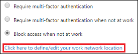 Define or edit you work network location