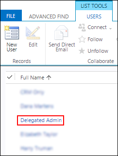 Delegated admin appears in user list