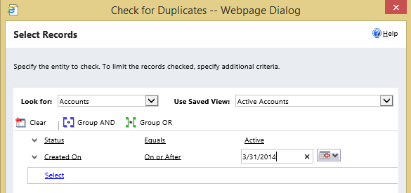 Screenshot of duplicate detection wizard, page 1