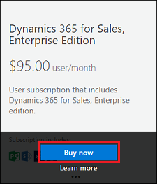 Dynamics 365 Sales Plan buy now
