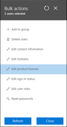 Edit product licenses for multiple users