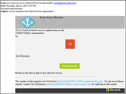 Email invitation sent to new user