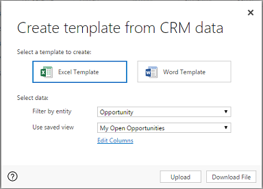 create excel template from dynamics 365 data page