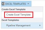 Create Excel Template menu option