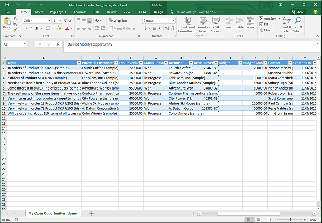 analyze your data with excel templates for dynamics 365