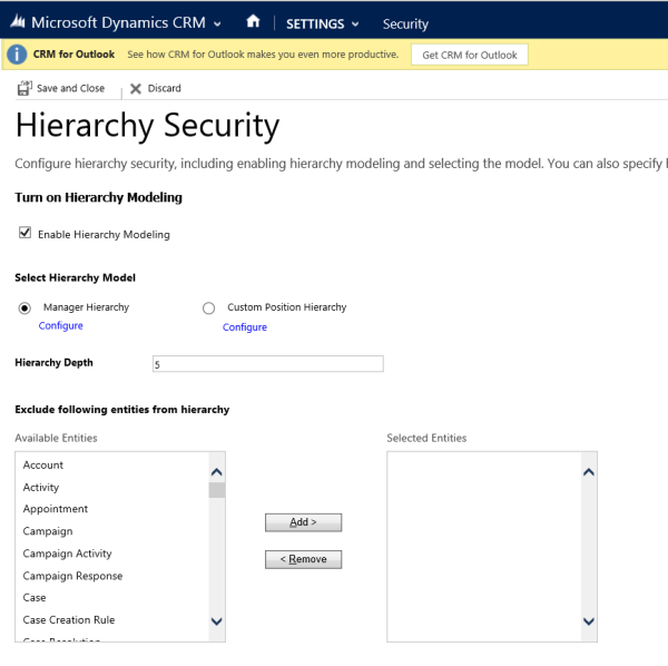 Set up hierarchy security in Dynamics 365