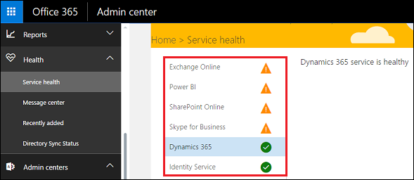 Office 365 Admin Center Dashboard Service Health