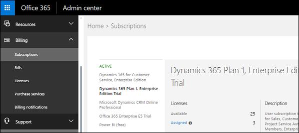 Office 365 Admin Center Subscriptions