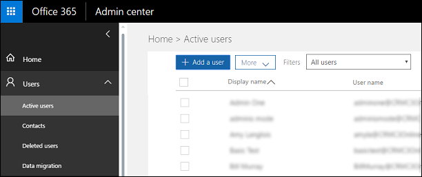 Office 365 Admin Center Active Users