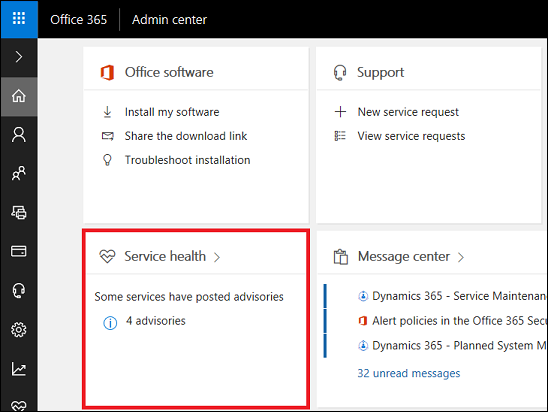 How do I check my online service health for Dynamics 365 for