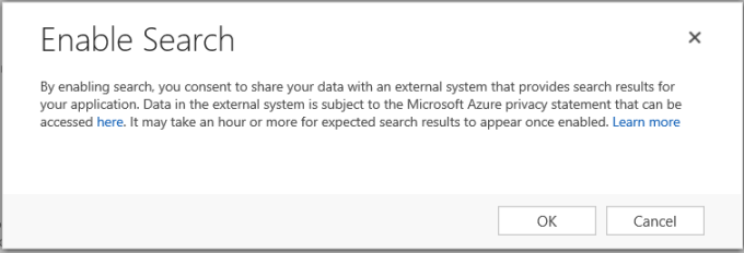 Enable Relevance Search consent dialog