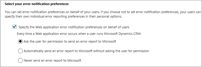 Select error notification preferences for users