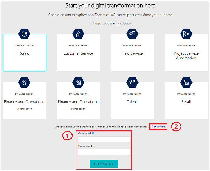 Try Dynamics 365 for Customer Engagement apps (online