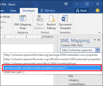 Select the Dynamics 365 XML schema