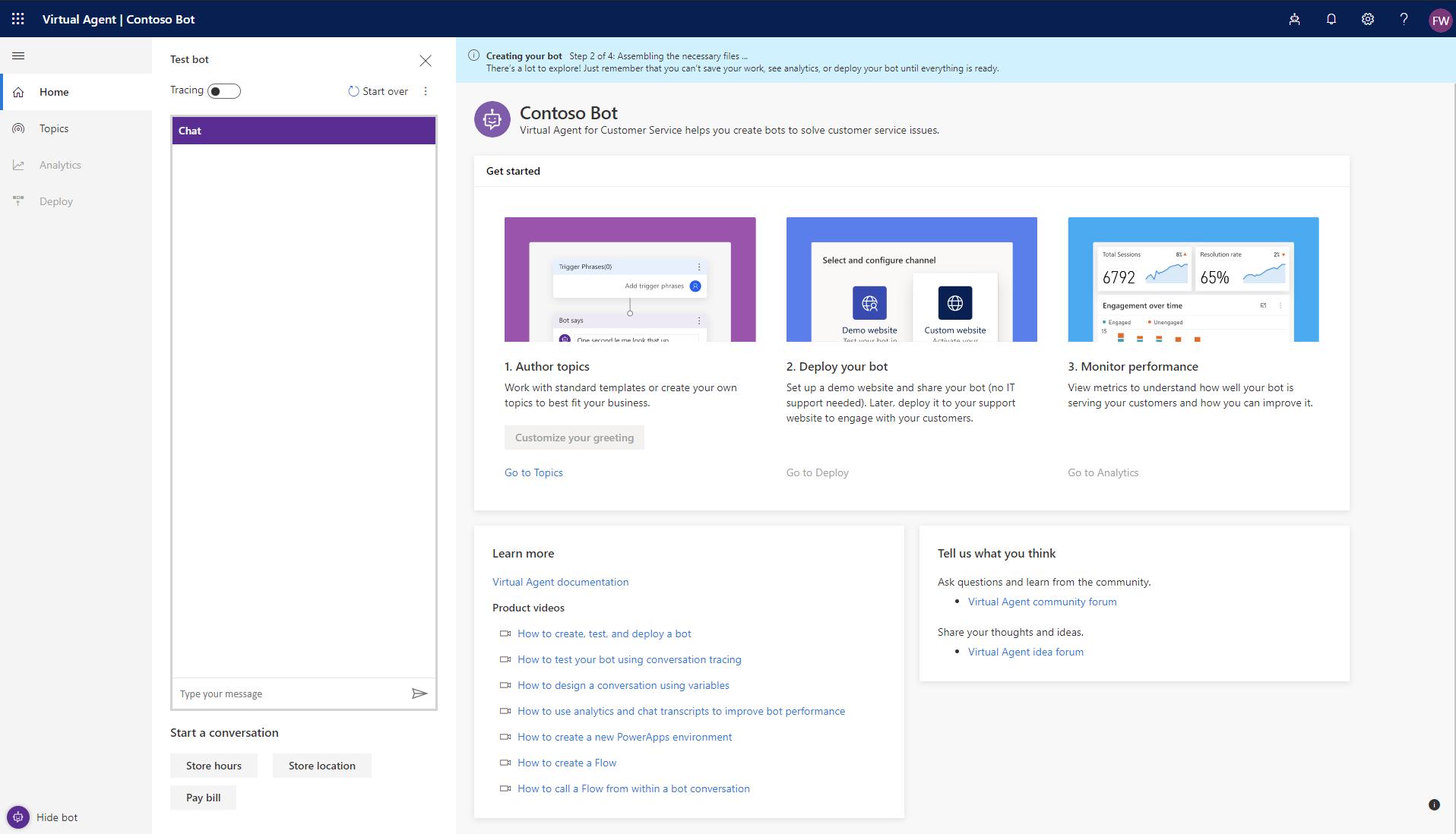 Quickstart: Create and deploy a customer service bot - Dynamics 365