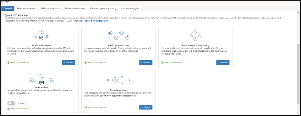 Configure and enable Sales Insights add-on for Dynamics 365