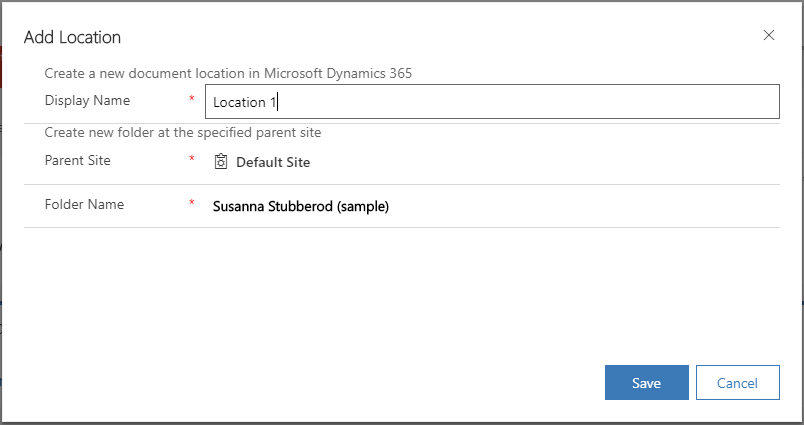 Dialog box to add a SharePoint location
