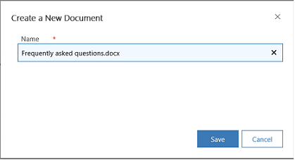 Dialog box for creating a new document