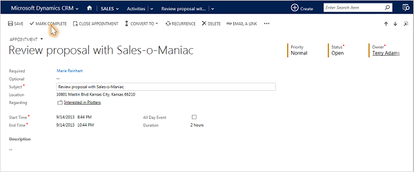 Shows closed proposal in Dynamics 365