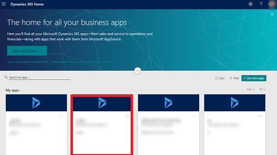 Dynamics 365 Home page with 4 apps