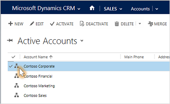 Hierarchies button highlighted in Dynamics 365