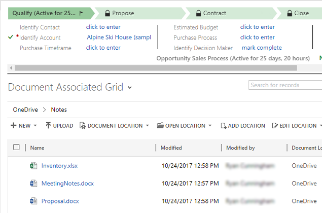 List of documents on OneDrive for Business