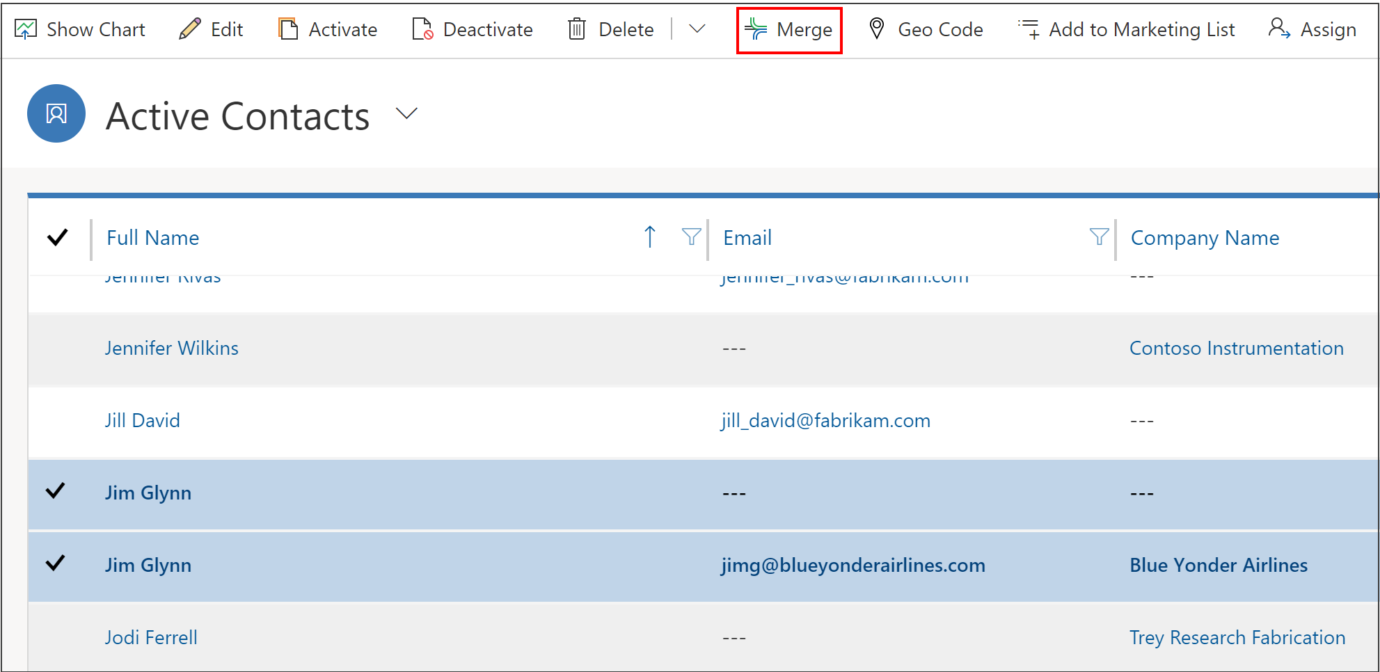 Merge records button in Dynamics 365
