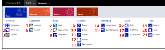 Sales app site map for Dynamics 365