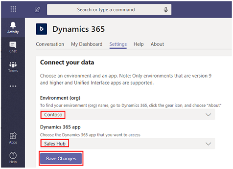 Install and set up the Dynamics 365 app for Teams