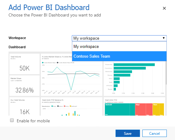 Add a Power BI tile to your personal dashboard