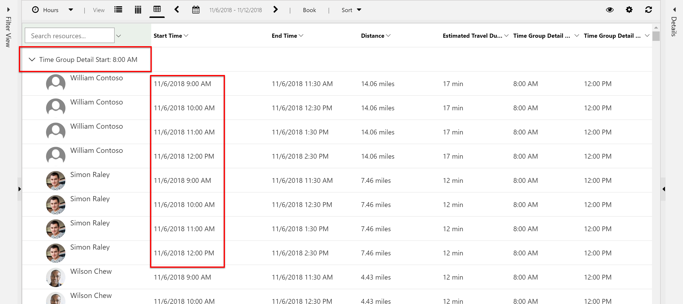 Screenshot of using both intervals and time group details to alter schedule assistant results