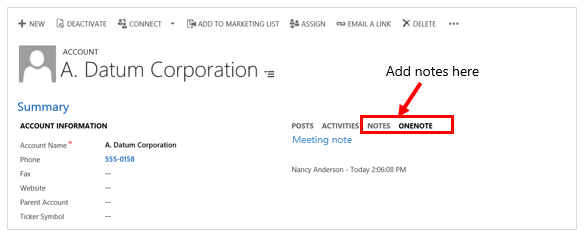 Add notes or OneNote notes in Dynamics 365