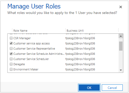 Manage security roles in Service Scheduling (Dynamics 365