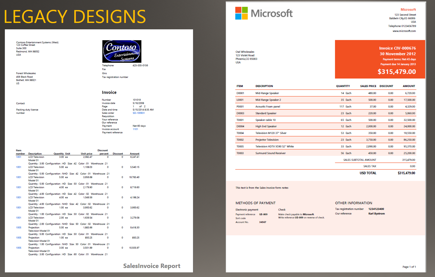 examples of an earlier sales invoice design and a modern sales invoice design