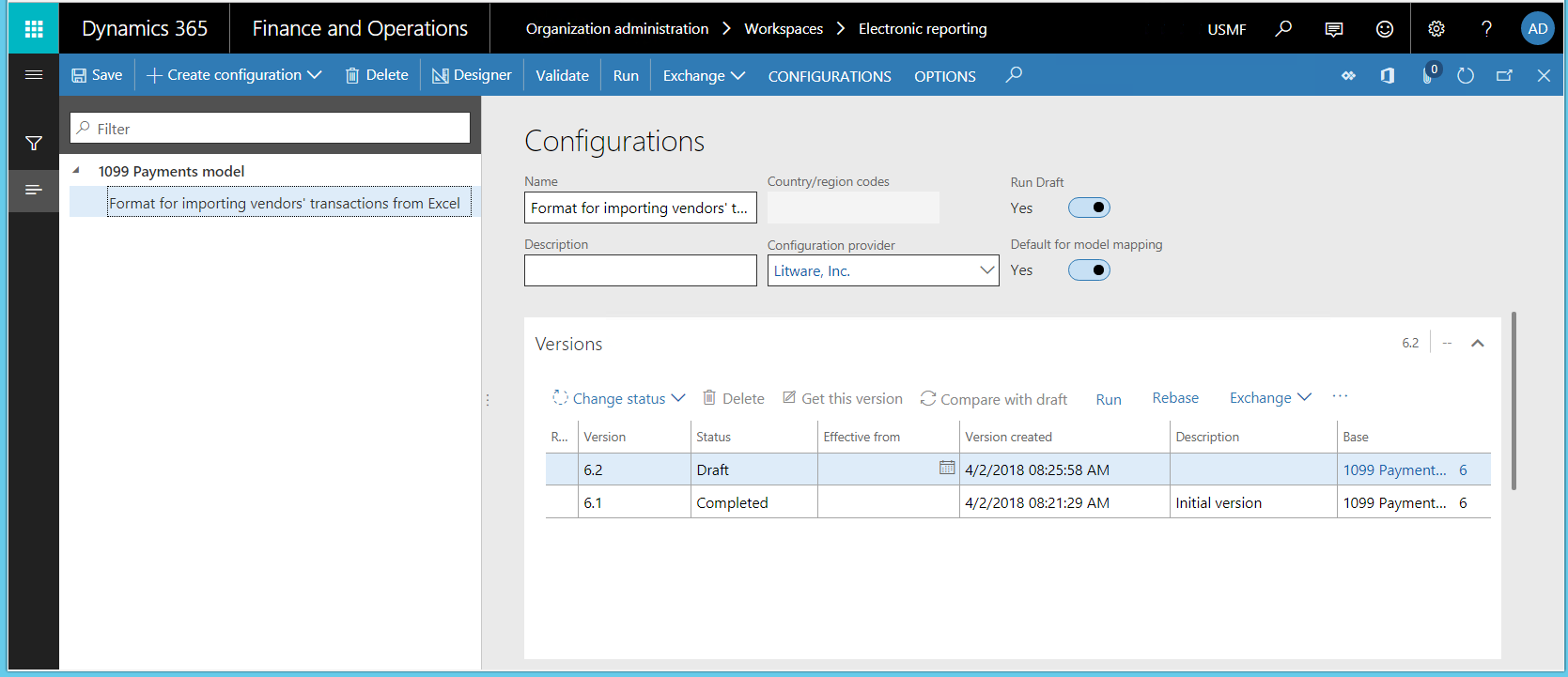 ER configurations for importing data from SharePoint