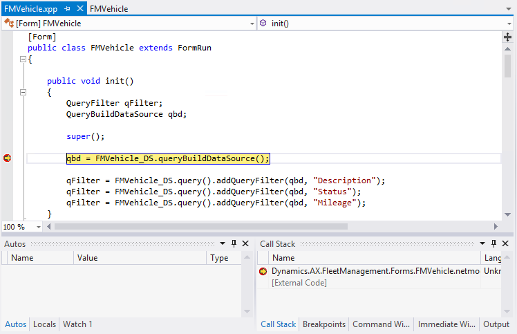 Debug X++ code by using the debugger in Visual Studio