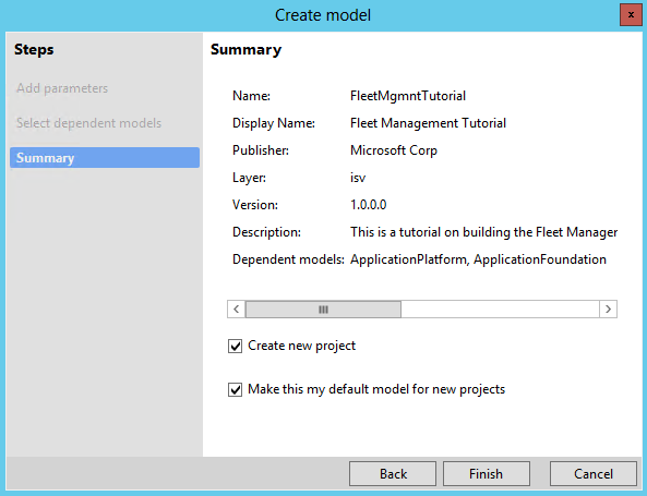 Create models and data model elements overview - Finance