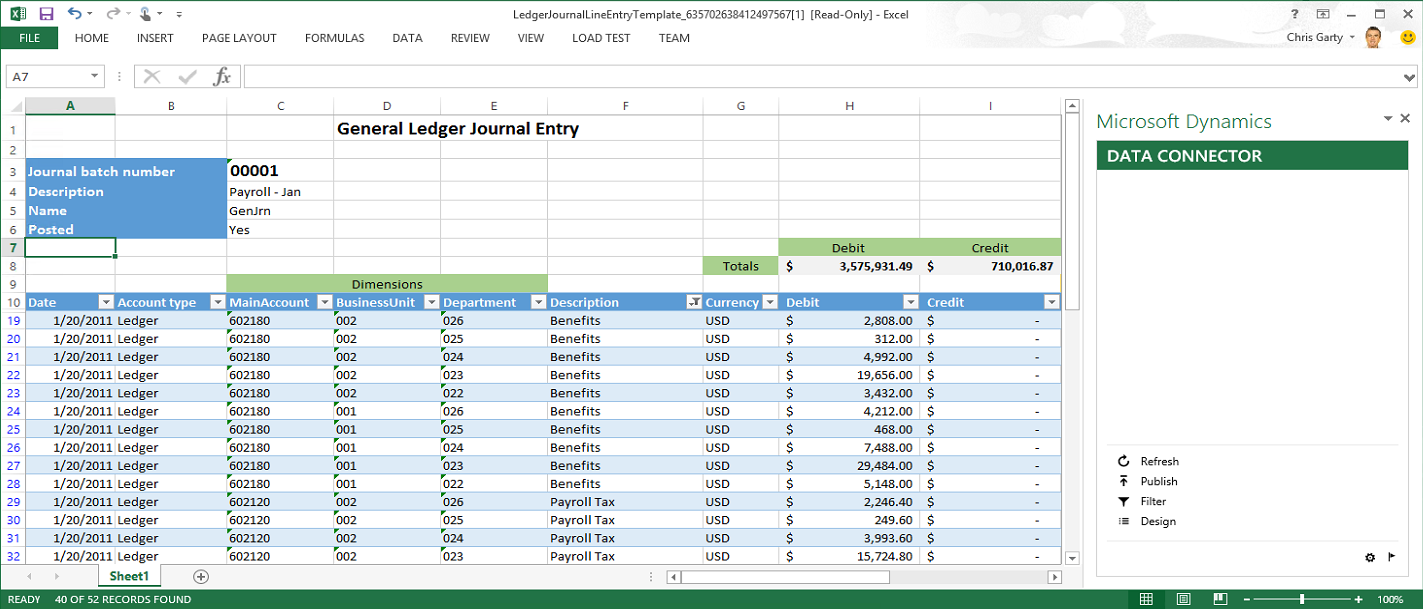 Create Open In Excel Experiences Finance Operations Dynamics