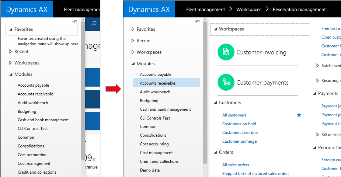 Navigation concepts - Finance & Operations | Dynamics 365
