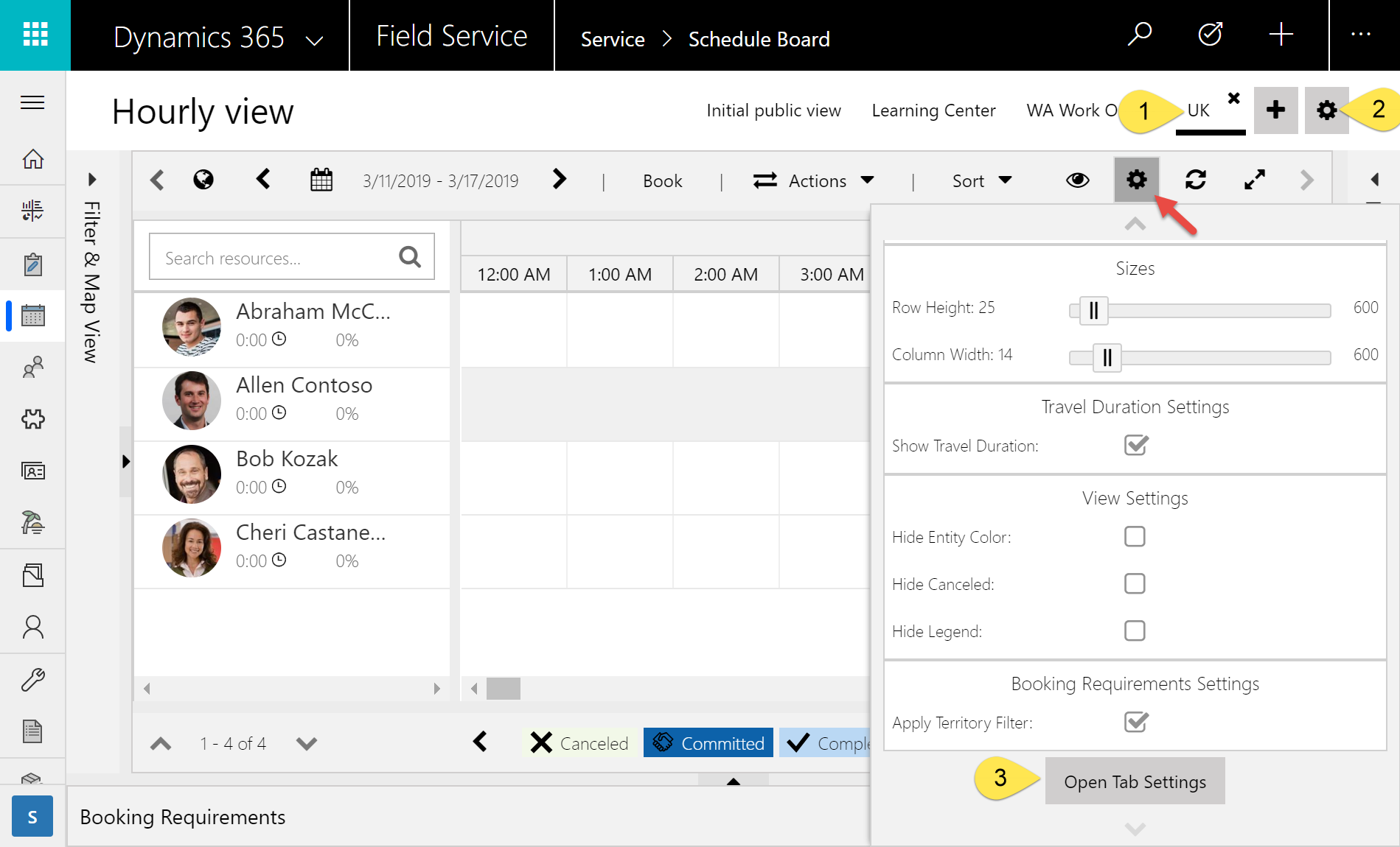 Screenshot of accessing schedule board tab settings