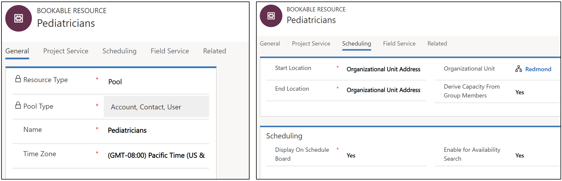 Screenshot of creating a scheduling facility with a pediatrician pool