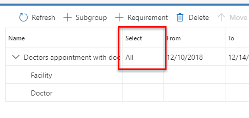 Screenshot of select field on requirement group