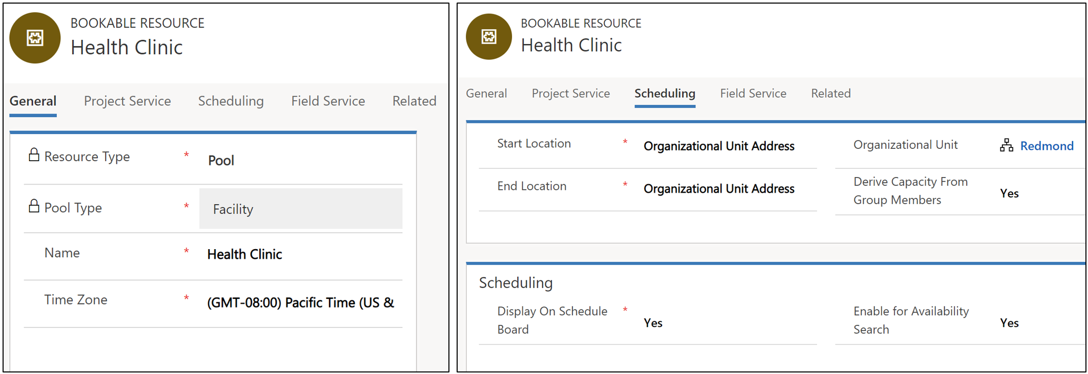 Screenshot of creating a new facility pool resource. This is a pool type resource with pool type of facility