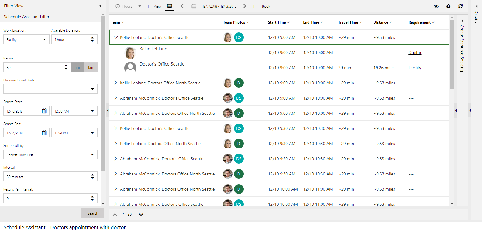 Screenshot of schedule assistant results pairing a resource with a facility resource to meet the requirement group