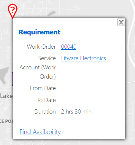 Screenshot of Requirement Map Pin Tooltips View