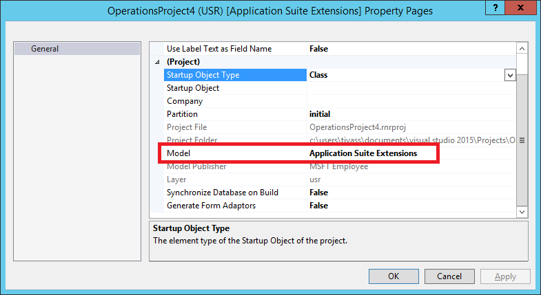 Project settings in Visual Studio